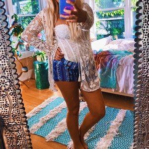 Zara [Nwt] Crochet Gypsy Beach Cardi Kimono